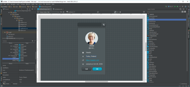 Screenshot of Vaadin Designer 1.1 in IntelliJ IDEA