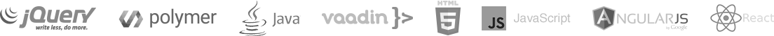 jQuery, Polymer, Java, Vaadin, HTML5, JavaScript, AngularJS, React