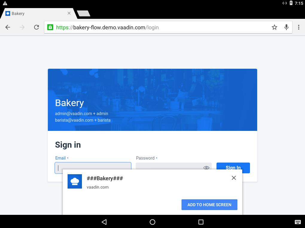 Progressive Web Application | Vaadin Bakery App Starter